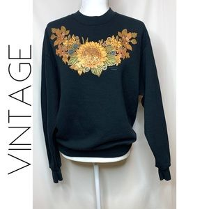 Vintage Morning Sun Forrer Sunflower sweatshirt L